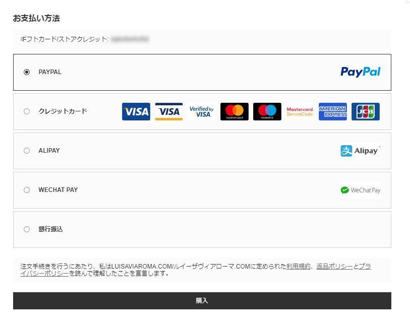 Luisaviaroma チェックアウト画面 支払い方法